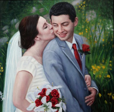 A painting of flower, bride, photograph, bridal clothing, wedding dress, flower bouquet, man, wedding, flower arranging, groom