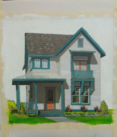 A painting of home, house, property, cottage, residential area, elevation, neighbourhood, real estate, building, siding
