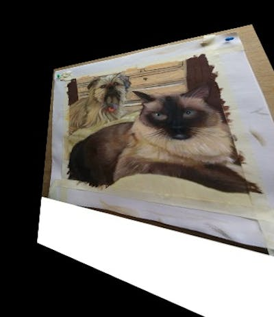 A painting of dog breed, cat, small to medium sized cats, dog breed group, cat like mammal, dog, cairn terrier, whiskers, snout, carnivoran