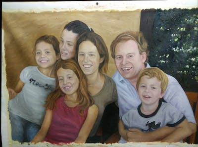 A painting of people, social group, day, youth, child, fun, family, smile, girl, friendship