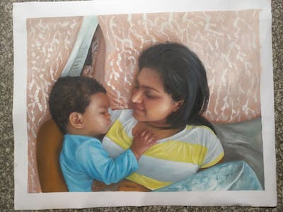 A painting of skin, child, day, infant, girl, black hair, fun, mother, smile, sleep