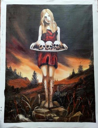 A painting of computer wallpaper, art, woman warrior, cg artwork, fictional character, darkness