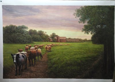 A painting of sky, pasture, grassland, field, farm, cloud, herd, rural area, evening, morning