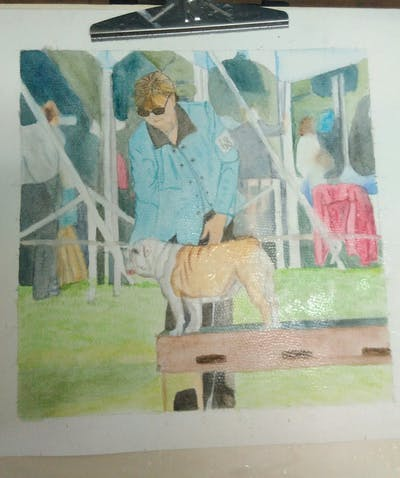 A painting of dog, dog like mammal, mammal, animal sports, vertebrate, conformation show, male, dog agility, dog sports, obedience trial