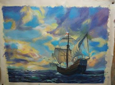 A painting of sea, sky, sailing ship, caravel, calm, ocean, ship of the line, wave, ship, brigantine