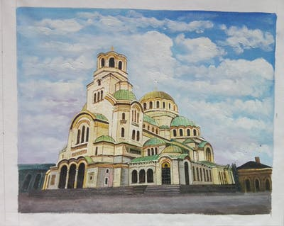A painting of landmark, dome, sky, byzantine architecture, building, place of worship, dome, cathedral, basilica, medieval architecture