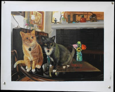 A painting of cat, mammal, small to medium sized cats, vertebrate, cat like mammal, whiskers, fauna, kitten, carnivoran, domestic short haired cat
