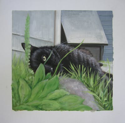 A painting of cat, fauna, grass, whiskers, small to medium sized cats, black cat, cat like mammal, plant, snout, herb