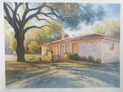 A painting of home, property, house, estate, real estate, cottage, painting, tree, watercolor paint, landscape