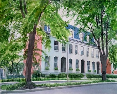 A painting of house, landmark, neighbourhood, tree, building, plant, mansion, architecture, home, estate