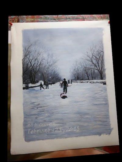 A painting of snow, winter, freezing, ice, sky, skating, tree, ice skating, winter sport, geological phenomenon