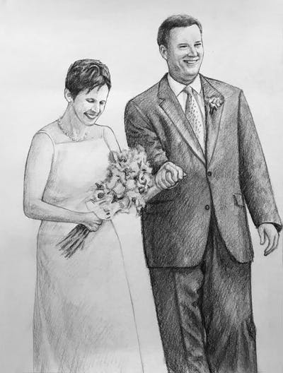 A painting of gown, wedding dress, photograph, bride, woman, bridal clothing, standing, marriage, dress, flower