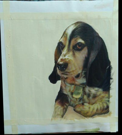 A painting of dog, dog breed, dog like mammal, snout, hound, whiskers, beagle, finnish hound, estonian hound, basset artésien normand