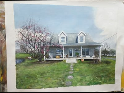 A painting of home, house, property, real estate, cottage, siding, farmhouse, residential area, estate, yard