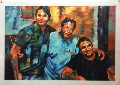 A painting of youth, friendship, muscle, fun, facial hair, product, recreation, professional, smile