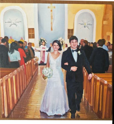 A painting of gown, wedding dress, bride, bridal clothing, photograph, dress, woman, marriage, ceremony, wedding
