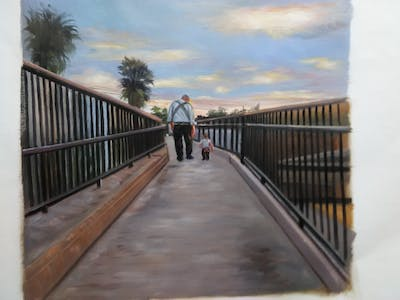 A painting of sky, cloud, walkway, boardwalk, infrastructure, morning, road, winter, evening, reflection