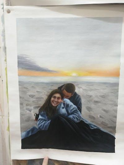 A painting of sea, sky, body of water, sunset, beach, sunrise, vacation, horizon, ocean, sun