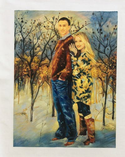A painting of winter, people, photograph, snow, tree, fun, girl, freezing, photography, outerwear