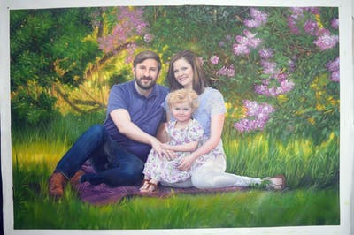 A painting of people, photograph, grass, photography, spring, fun, plant, family, garden, flower
