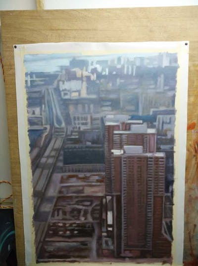 A painting of metropolis, sky, building, skyscraper, tower block, architecture, condominium, line, facade, screenshot