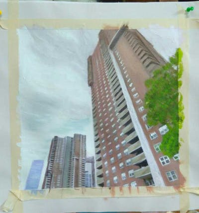A painting of skyscraper, building, landmark, metropolitan area, tower block, condominium, metropolis, urban area, sky, property