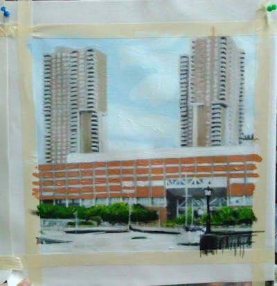 A painting of metropolitan area, skyscraper, urban area, landmark, condominium, tower block, building, metropolis, residential area, skyline