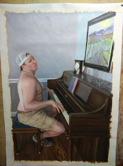 A painting of piano, keyboard, musical instrument, sitting, leg, pianist, muscle, furniture, technology, electronic device