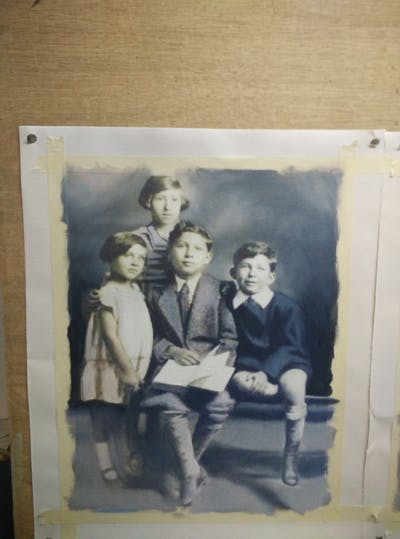 A painting of people, photograph, person, black and white, snapshot, family, vintage clothing, standing, child, monochrome photography