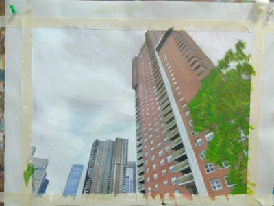 A painting of architecture, sky, building, elevation, skyscraper, angle, facade, screenshot