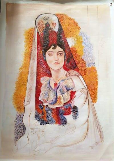 A painting of art, painting, portrait, illustration, flower, costume design, modern art, watercolor paint, paint, artwork