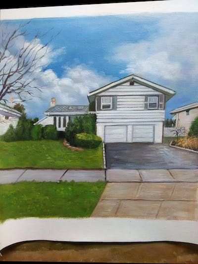 A painting of home, house, property, residential area, real estate, building, neighbourhood, estate, suburb, facade
