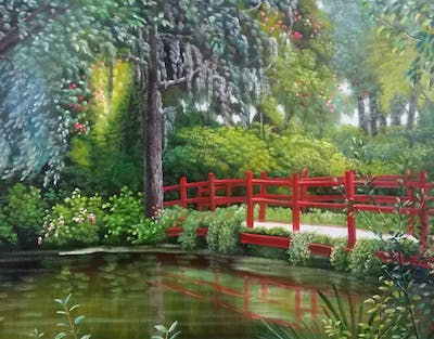 A painting of plant, waterway, nature, reflection, water, flower, vegetation, flora, tree, leaf