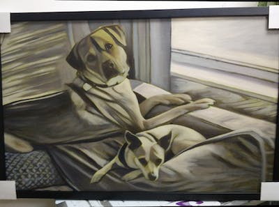A painting of dog, dog breed, dog like mammal, snout, dog crossbreeds, flooring, furniture, dog breed group, whiskers, bed