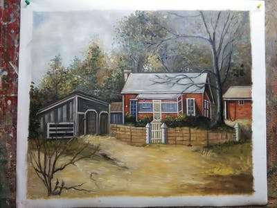 A painting of home, painting, property, house, rural area, tree, residential area, shack, cottage, watercolor paint