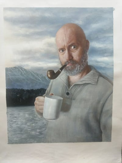 A painting of hair, facial hair, water, man, beard, moustache
