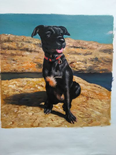A painting of dog, black, dog breed, dog like mammal, sky, snout, dog crossbreeds, sporting group