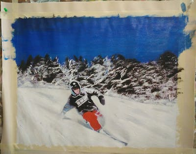 A painting of skiing, ski, winter, piste, alpine skiing, cross country skiing, snow, geological phenomenon, winter sport, nordic skiing