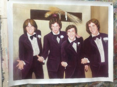 A painting of purple, smile, formal wear, product, fun, magenta, family