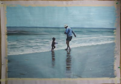 A painting of beach, sea, vacation, body of water, shore, wind wave, fun, coast, ocean, wave