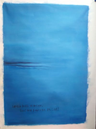 A painting of blue, horizon, sky, calm, atmosphere, sea, water, azure, atmosphere of earth, daytime