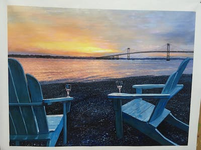 A painting of bridge, sky, fixed link, horizon, sunset, calm, sunrise, dawn, morning, evening