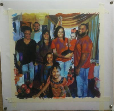 A painting of people, social group, event, party, fun, tradition, friendship, family, recreation, smile