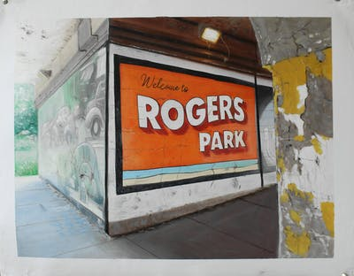 A painting of wall, advertising, window, street art, facade, street, mural