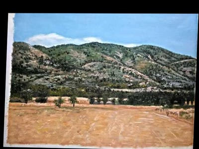 A painting of sky, ecosystem, mountainous landforms, hill, field, grassland, rural area, mountain, savanna, plain