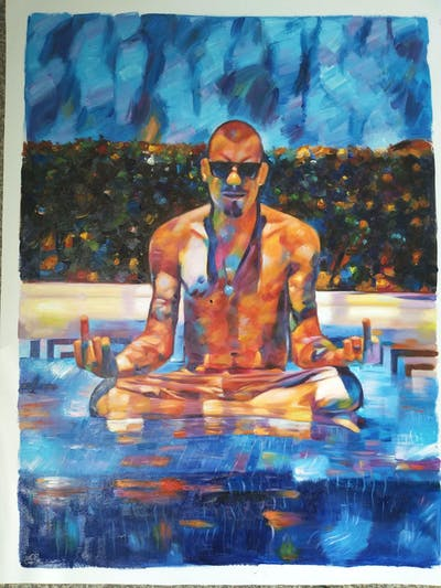 A painting of water, man, barechestedness, vacation, swimming pool, swimwear, leisure, fun, male, sun tanning