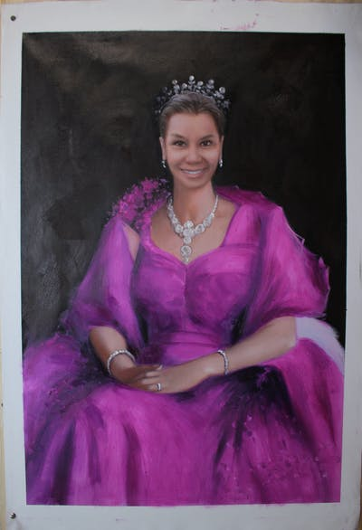 A painting of painting, portrait, lady, beauty, gown, girl, costume design, lady in waiting, art, artwork