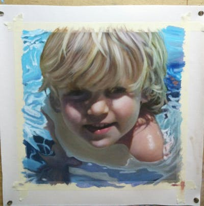 A painting of face, hair, nose, human hair color, blond, cheek, head, chin, child, hairstyle