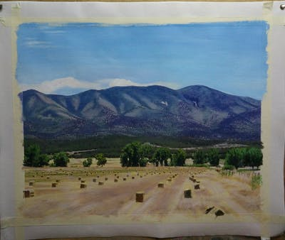A painting of sky, ecosystem, mountainous landforms, hill, field, grassland, rural area, mountain, plain, savanna