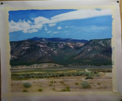 A painting of ecosystem, sky, highland, mountainous landforms, wilderness, shrubland, plain, grassland, steppe, ecoregion